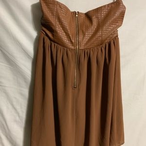 Ya Los Angeles Tops - Ya Los Angeles Brown Strapless Shirt Flowy Tunic